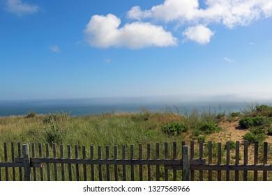 Coastal landscape with sea fence