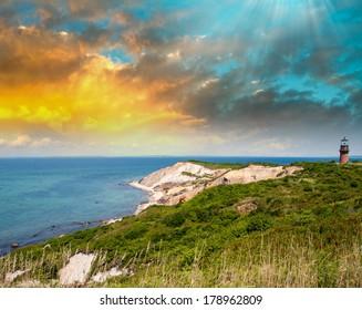 Coastal Lighthouse Sunset, Martha's Vineyard, MA.