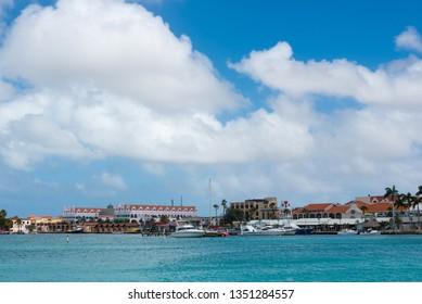Coastal line on the island with shops and hotels near the marina in the city Oranjestad. Oranjestad. Aruba Dutch Dutch. February 23, 2019.