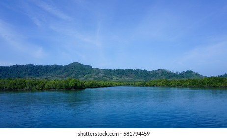 Coastal mangrove tree Forests, lush green mountains and clear blue sky with thin clouds. Clear blue waters with small wave rhythm of the ocean. Shadow in the water from the line of the hill