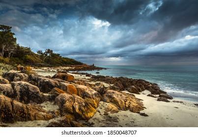 coastal Meelup beach sunrise cloudy rugged rocky west Australia seascape horizon