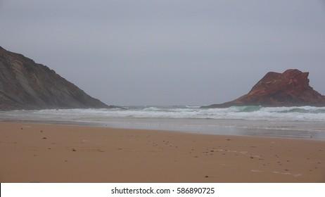 Coastal Ocean Beach And Rock Formation