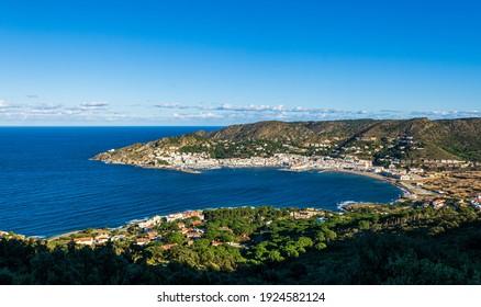Coastal panorama over the typical Mediterranean village El Port de la Selva, Costa Brava, Catalonia, Spain