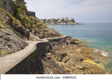 The coastal path at Dinard in France with the grand mansions in the background