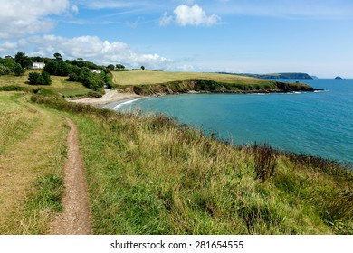 Coastal Pathway leading to Porthcurnick Beach Cornwall England Landscape