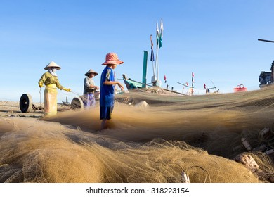 Coastal Plain, Vietnam, Aug 2014: Daily life of Fishermen on the sea, they work very hard and they are poor