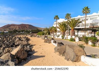 Coastal promenade in Playa Blanca holiday village, Lanzarote, Canary Islands, Spain