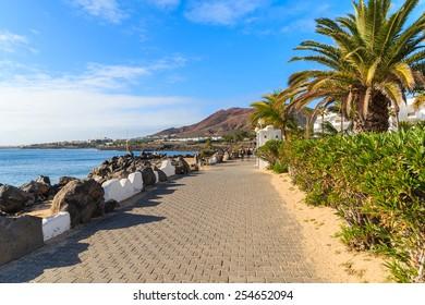 Coastal promenade with tropical plants in Playa Blanca holiday village, Lanzarote, Canary Islands, Spain