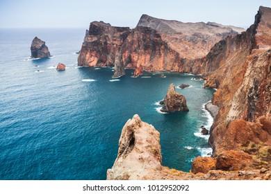 Coastal red rocks of Ponta de Sao Laurenco. Landscape of Madeira island, Portugal