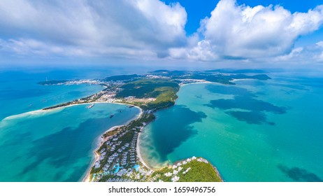 Coastal Resort Scenery of Ong Doi Cape, Emerald Bay, Phu Quoc Island, Vietnam, a Tourism Destination for Summer Vacation in Southeast Asia, with Tropical Climate and Beautiful Landscape. Aerial View.
