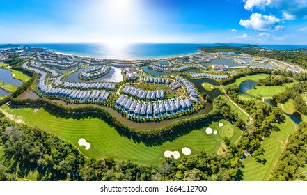 Coastal Resort Scenery of Phu Quoc Island, Vietnam, a Tourism Destination for Summer Vacation in Southeast Asia, with Tropical Climate and Beautiful Landscape. Aerial View.