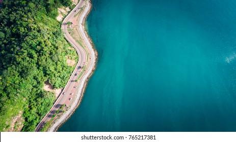 Coastal road by drone