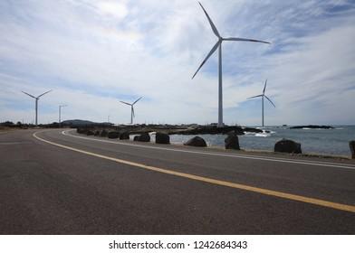 Coastal road landscape - Jeju Island, Korea