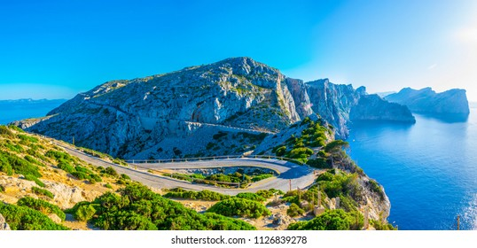 A coastal road winding through Mallorca, Spain