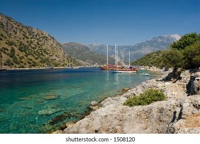A coastal scene at Gemiler Island, near Fethiye, Turkey