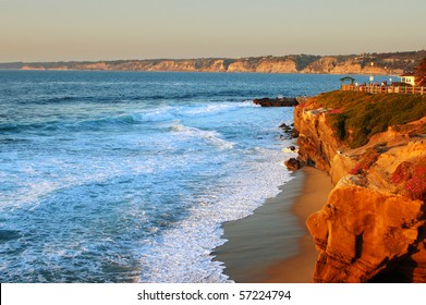 Coastal scene at sunset; La Jolla, California