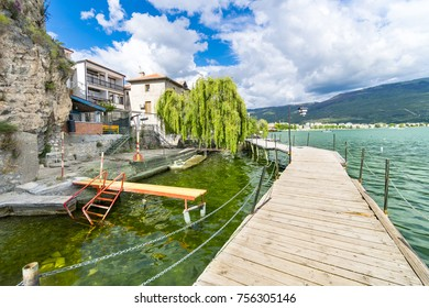 Coastal scene with wooden walkway from Ohrid and the Lake Ohrid, southeast of FYR Macedonia