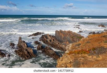 Coastal scene of Zambujiem do Mar, Alentejo, Portugal, January 14, 2018