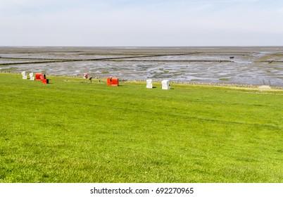 coastal scenery around Buesum in Dithmarschen at Schleswig-Holstein, Germany