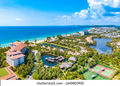 Coastal Scenery of Hotels and Resorts on Bai Dai Beach, Phu Quoc Island, a Popular Tourism Destination in Vietnam, Southeast Asia. Aerial View.
