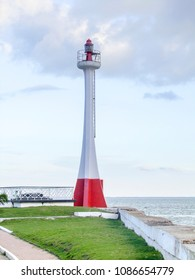 coastal scenery including the Baron Bliss Lighthouse in Belize City, the capital of Belize in Central America