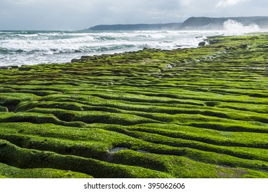 Coastal stone trench of Laomei coast in Taipei, Taiwan