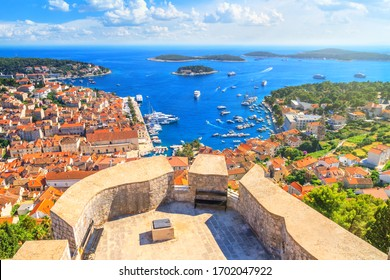 Coastal summer landscape - top view of the City Harbour and marina of the town of Hvar from the fortress, on the island of Hvar, the Adriatic coast of Croatia
