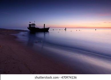 Coastal Sunrise, Fishing Boat on the Beach, Usedom Island, Germany
