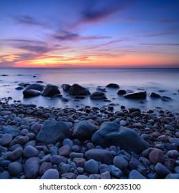Coastal Sunset, Rocky Coastline with Boulders, Rugen Island, Germany