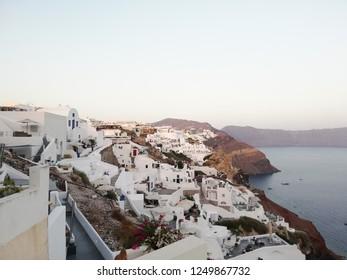 A coastal town on the northwestern tip of Santorini,Oia
