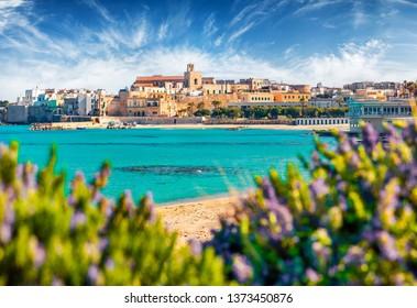 Coastal town in southern Italy's Apulia region - Otranto, Apulia region, Italy, europe. Popular Alimini Beach on background. Traveling concept background.