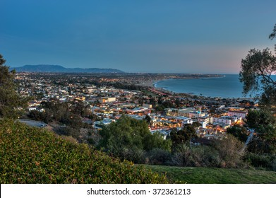 Coastal town of Ventura illuminated by street lights.