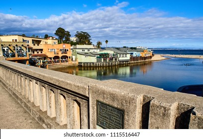 Coastal view of Capitola from the bridge leading to the pier, build in 1934, California