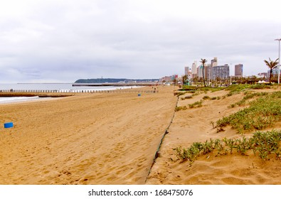 Coastal view of North Beach and Durban City Skyline with the Bluff in background