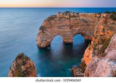 Coastal view from Praia da Marinha beach of Algarve region in Atlantic ocean of Portugal, Europe