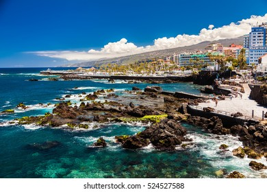 coastal view of Puerto de la Cruz in Tenerife, Canary Islands, Spain