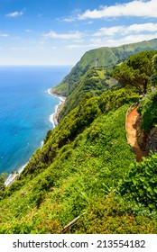 Coastal view with walking path, Sao Miguel, Azores, Portugal, Europe