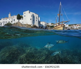 Coastal village of Cadaques with a traditional boat and fish with seagrass underwater, split view above and below water surface, Mediterranean sea, Costa Brava, Spain