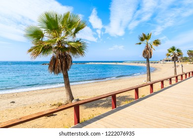 Coastal walkway and palm trees on beach in Marbella town, Spain