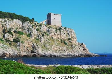 Coastal watchtower on the cliff - Torre Santa Maria dell'Alto, also known as Torre dell Alto - Salento, Italy