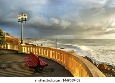 Coastal way with balcony at Foz do Douro, Oporto, Portugal