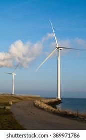 Coastal wind turbines in Denmark