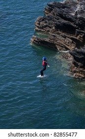 Coasteering an adventure sport along the coastline of Anglesey north wales