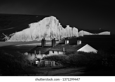 Coastguard Cottages in black and white