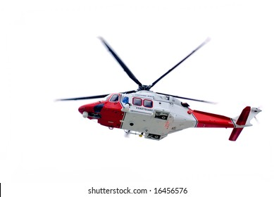 Coastguard helicopter isolated on white.