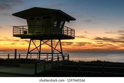 Coastguard tower at sunrise