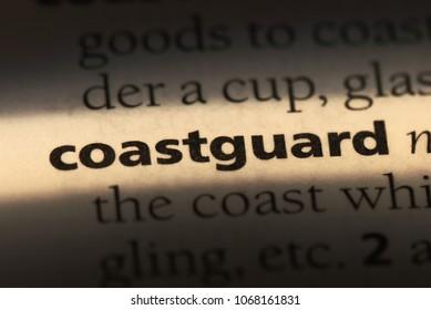 coastguard word in a dictionary. coastguard concept.