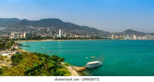 Coastline of Acapulco city in Mexico.