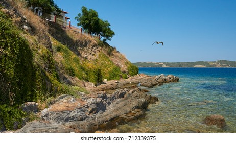 Coastline of Aegean sea in Ammouliani, Chalkidiki, Northern Greece