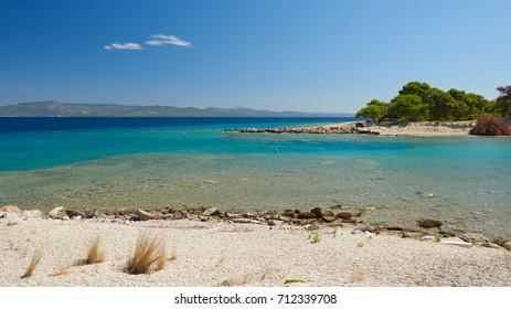 Coastline of Aegean sea in Kassandra, Halkidiki, Northern Greece